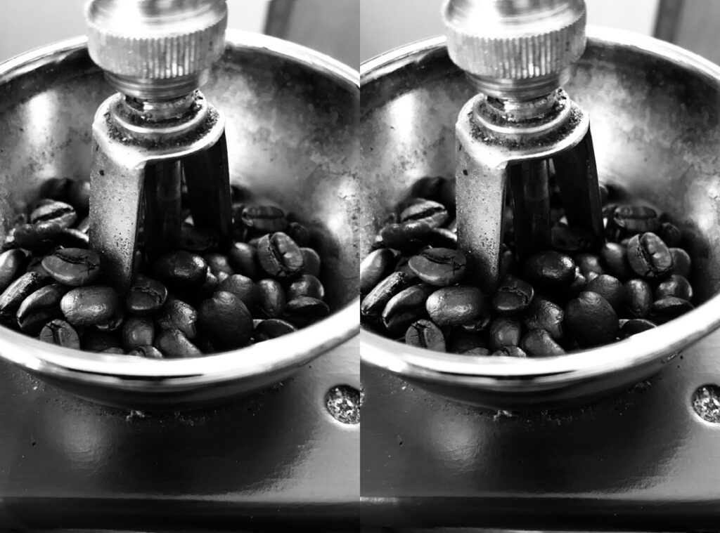 'An everyday joy in my life is coffee, and I love to take the time to fully savour the experience in all its dimensions – beginning with grinding the beans manually.'  Meg Converse, Michigan, USA